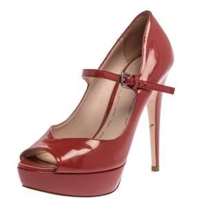 Miu Miu Burgundy Patent Leather Peep Toe Pumps Size 37.5