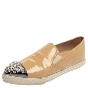 Miu Miu Beige Patent Leather Crystal Embellished Cap Toe Sneakers Size 36.5