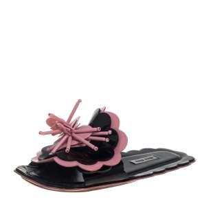 Miu Miu Pink/Black Patent Leather 3D Floral Detail Flats Size 35