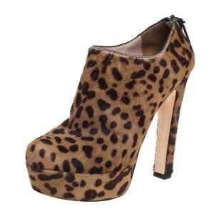 Miu Miu Brown Leopard Print Calf Hair Platform Booties Size 38