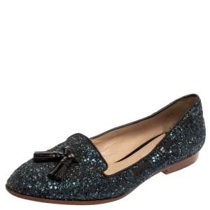 Miu Miu Blue Glitter And Leather Tassel Smoking Loafer Size 38.5