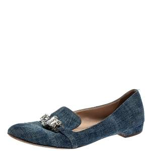 Miu Miu Blue Denim Crystal Embellished Smoking Slippers Size 40