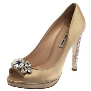 Miu Miu Beige Satin Embellished Peep Toe Pumps Size 39.5