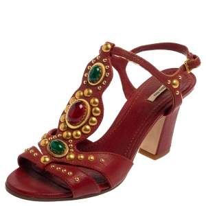 Miu Miu Red Leather Embellished T Strap Sandals Size 39