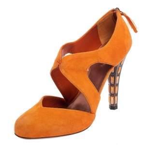 Miu Miu Orange Suede Cut Out Sandals Size 40