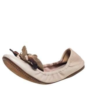 Miu Miu Beige Leather Embellished  Flats Size 38