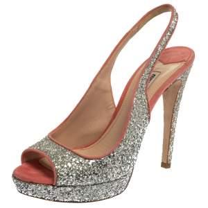 Miu Miu Pink/Silver Glitter And Suede Peep Toe Sandals Size 40