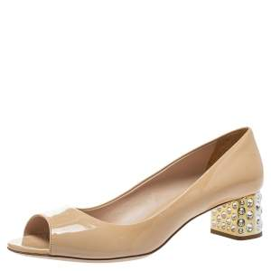 Miu Miu Beige Patent Leather Crystal Embellished Heel Pumps Size 40.5