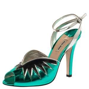Miu Miu Green/Black  Leather Ankle Strap  Peep-Toe Sandals Size 40