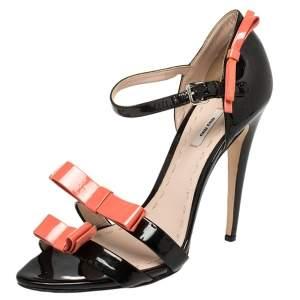 Miu Miu Black /Orange  Patent Leather Sandals Size 39