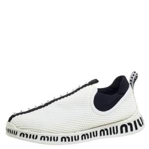 Miu Miu White Mesh Crystal Embellished Slip On Sneakers Size 39.5