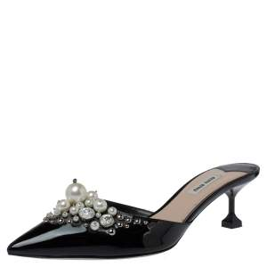 Miu Miu Black Patent Leather Embellished Pointed Toe Mules Size 39.5