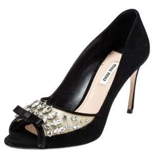 حذاء كعب عالى ميو ميو مقدمة مفتوحة سويدى وبى فى سى زخرفة كريستال أسود مقاس 38.5