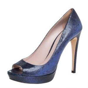 حذاء كعب عالى ميوميو نعل سميك مقدمة مفتوحة جلد نقش ثعبان أسود / أزرق 39.5
