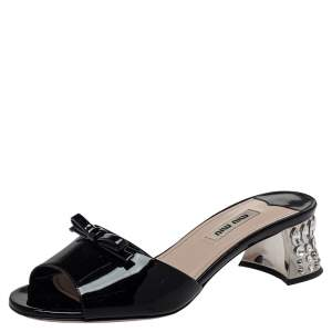 Miu Miu Black Patent Leather Bow Crystal Embellished Open Toe Sandals Size 36