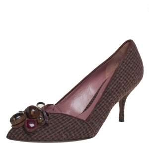 Miu Miu Vintage Brown Wool Houndstooth Enamel Embellished Work Pumps Size 36