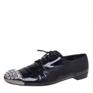 Miu Miu Black Patent Leather Crystal Embellished Cap Toe Oxfords Size 40