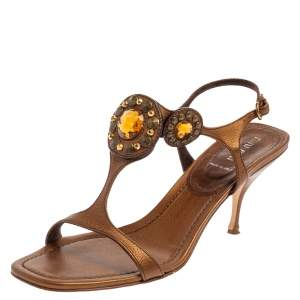 Miu Miu Brown Leather Embellished Sandals Size 40