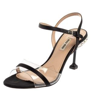 Miu Miu Black Satin And PVC Embellished Heel Ankle Strap Sandals Size 38.5