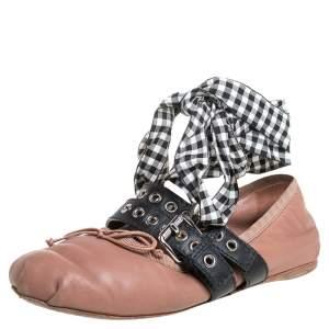 Miu Miu Beige Leather Belted Ankle Wrap Ballerina Flats Size 37.5