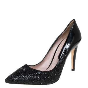 Miu Miu Black Glitter And Patent Leather Pointed Toe Pumps Size 40