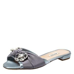 Miu Miu Light Blue Satin And Canvas Knot Crystal Embellished Slide Sandals Size 38