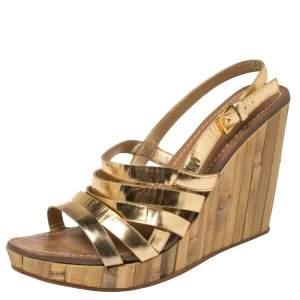 Miu Miu Gold Leather Panel Bamboo Wedge Sandals Size 40