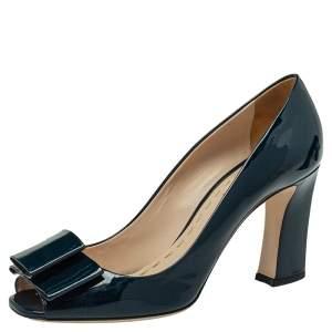 Miu Miu Navy Blue Patent Leather Bow Pumps Size 39