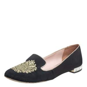 Miu Miu Black Canvas Embroidered Crystal Embellished Smoking Slippers Size 36