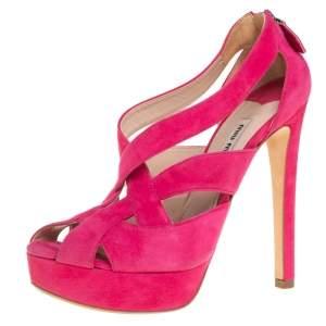 Miu Miu Pink Suede Strappy Platform Sandals Size 37.5