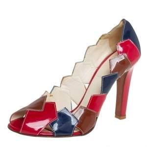 حذاء كعب عالي ميو ميو باتشورك جلد لامع متعدد الألوان مقدمة مفتوحة مقاس 36.5