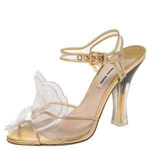Miu Miu Gold PVC And Leather Vinyl Floral Embellished Sandals Size 37.5
