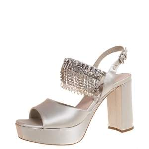 Miu Miu Grey Satin Dangling Crystals Embellished Platform Sandals Size 37