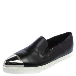 Miu Miu Black Leather Metal Cap Toe Slip On Sneakers Size 37