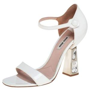 Miu Miu White Patent Leather Crystal Embellished Heel Ankle Strap Sandals Size 37.5