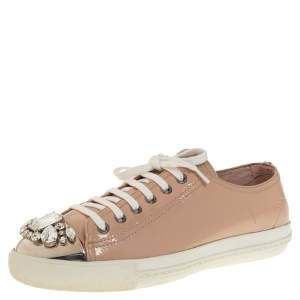 Miu Miu Beige Patent Leather Crystal Embellished Low Top Sneakers Size 39