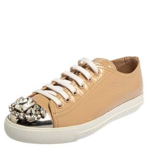 Miu Miu Beige Patent Leather Crystal Embellished Cap Toe Sneakers Size 37.5