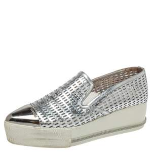 Miu Miu Silver Perforated Leather Metal Cap Toe Platform Sneakers Size 39.5