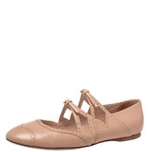 Miu Miu Beige Leather Criss Cross Ballerina Flats Size 40.5