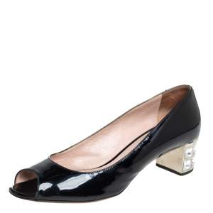 Miu Miu Black Patent Leather Crystal Embellished Block Heel Peep Toe Pumps Size 38