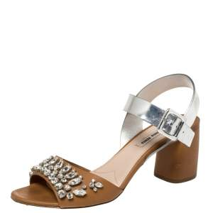 Miu Miu Brown/Metallic Silver Patent Leather and Leather Crystal Embellished Block Heel Ankle Strap Sandals Size 38.5