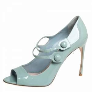 Miu Miu Pale Green Patent Leather Mary Jane Pumps Size 39