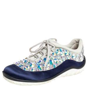 Miu Miu Blue/Grey Satin And Mesh Astro Low Top Sneakers Size 37