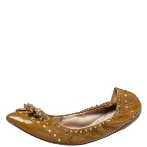 Miu Miu Brown Patent Leather Studded Ballet Flats Size 41