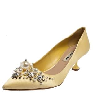 Miu Miu Yellow Satin Crystal And Pearl Embellished Pointed Toe Pumps Size 37.5