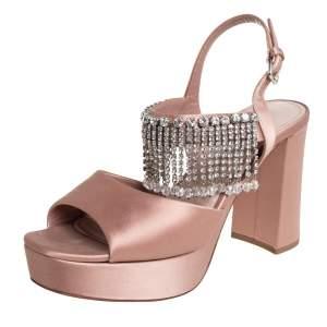 Miu Miu Beige Satin Embellished Platform Sandals Size 38.5