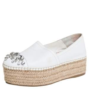 Miu Miu Off White Leather Crystal Embellished Espadrilles Size 36