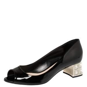 Miu Miu Black Patent Leather Crystal Embellished Heel Peep Toe Pumps 37.5