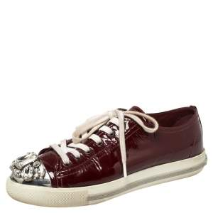 Miu Miu Maroon Patent Leather Crystal Embellished Low Top Sneakers Size 36