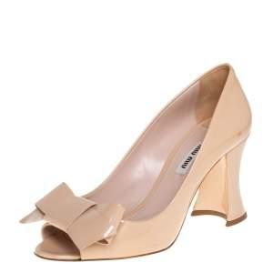 Miu Miu Beige Patent Leather Bow Peep Toe Block Heel Pumps Size 37.5